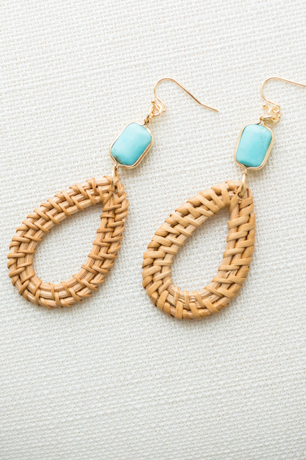 Marble Detail Straw Braid Earrings - Natural/Turquoise