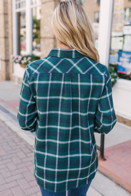 Life Changes Button Down Plaid Top - Green Multi