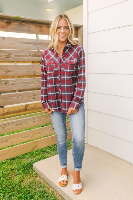 Life Changes Button Down Plaid Top - Red Multi