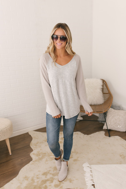 Waffle Contrast Raglan Brushed Top - Grey Silver - FINAL SALE