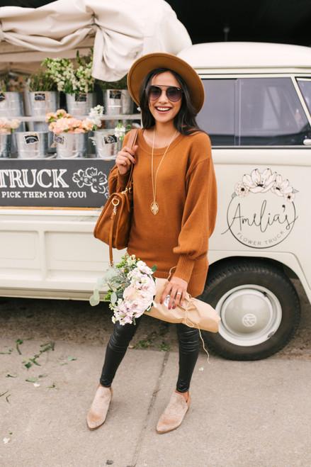 Balloon Sleeve Sweater Tunic - Heather Canyon Camel  - FINAL SALE