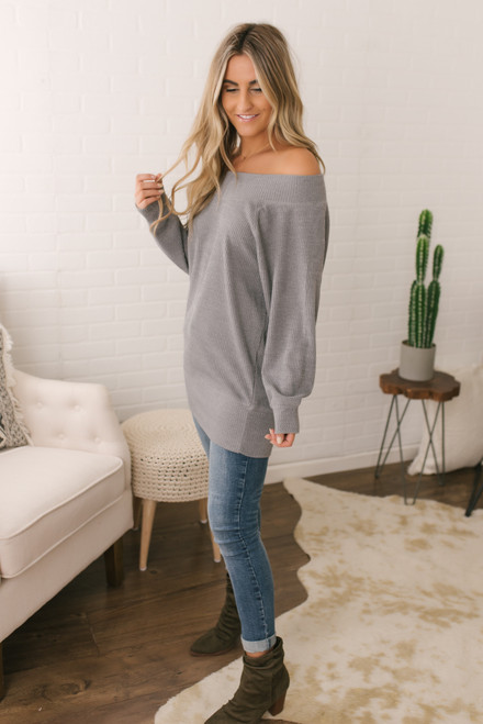 Off the Shoulder Ribbed Top - Grey - FINAL SALE