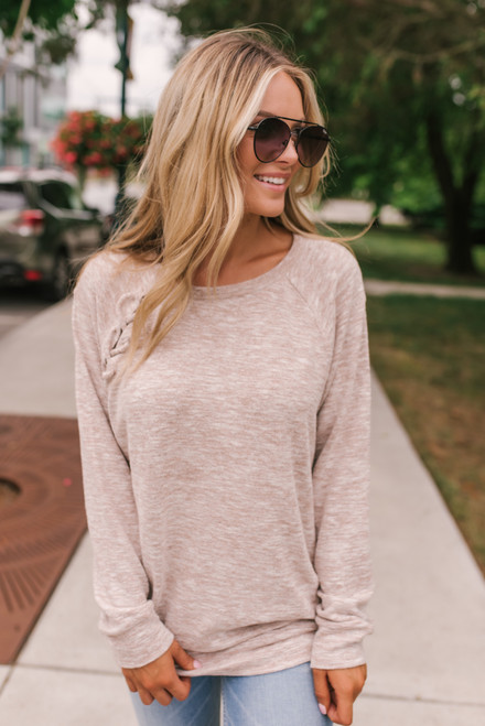 Lace Up Detail Brushed Pullover - Heather Blush - FINAL SALE