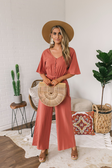 Short Sleeve Button Down Striped Jumpsuit - Rust  - FINAL SALE