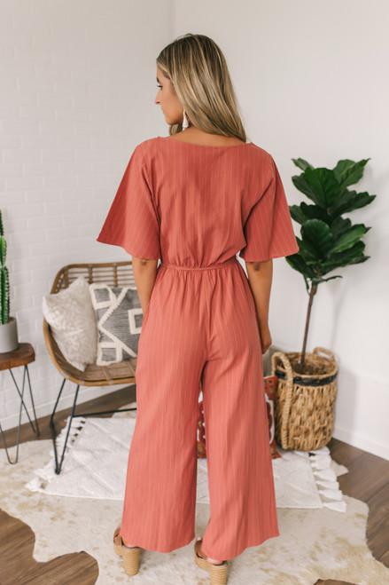 Short Sleeve Button Down Striped Jumpsuit - Rust  - FINAL SALE