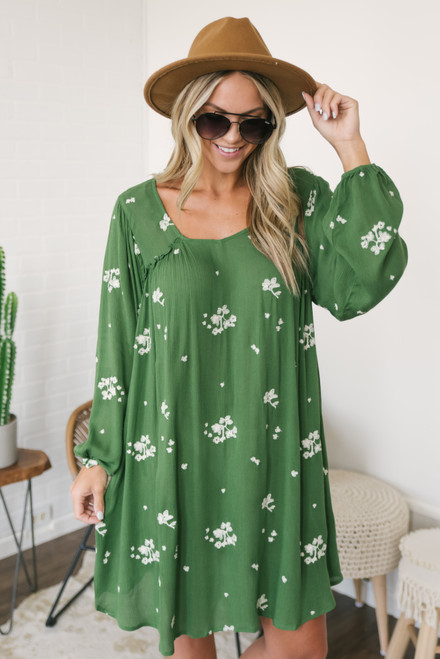 Floral Fields Embroidered Dress - Green