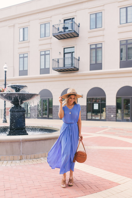V-Neck Faux Wrap Layered Maxi - Periwinkle Slate - FINAL SALE
