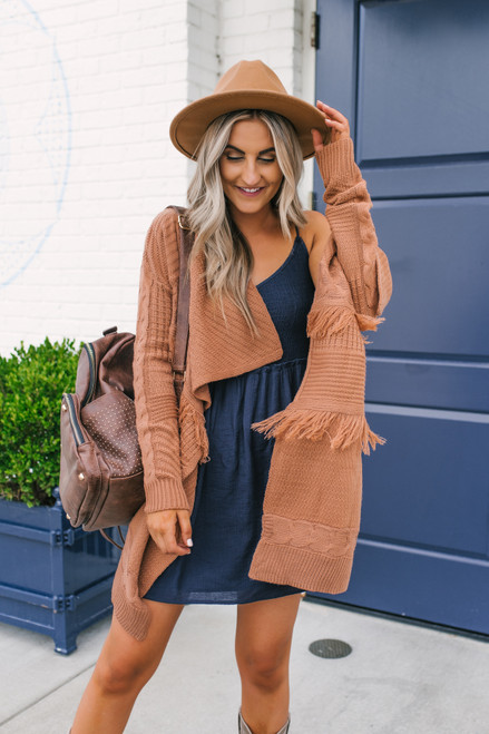 Draped Cable Knit Fringe Cardigan - Dusted Brick