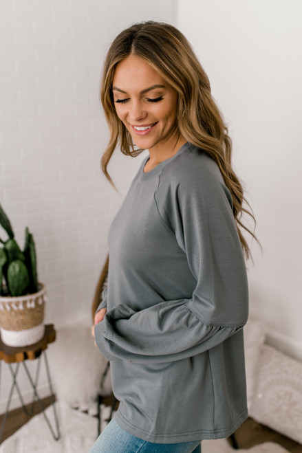 French Terry Puff Sleeve Pullover - Slate Grey