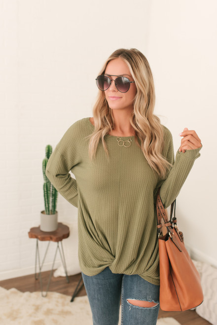 Twisted Hem Waffle Knit Top - Olive - FINAL SALE