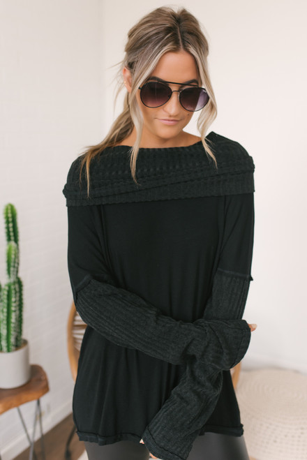Cowl Neck Ribbed Contrast Top - Black