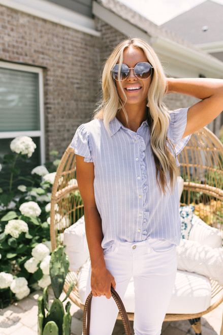 Ruffle Detail Button Down Striped Top - Blue/White