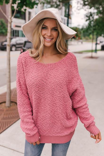 Knot Back Wubby Sweater - Raspberry Rose