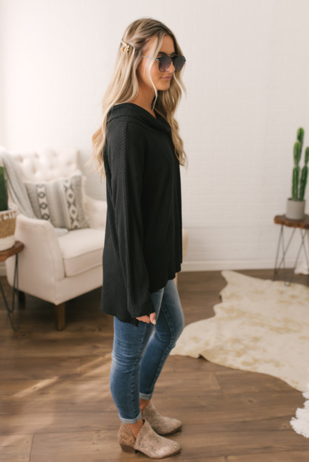 Cowl Neck Waffle Pullover - Black - FINAL SALE