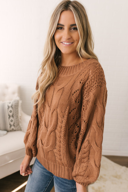 Puff Sleeve Cable Knit Sweater - Canyon Rust - FINAL SALE