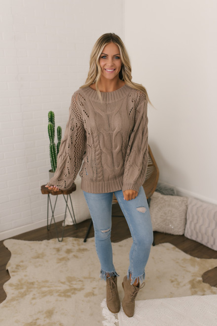 Puff Sleeve Cable Knit Sweater - Mocha