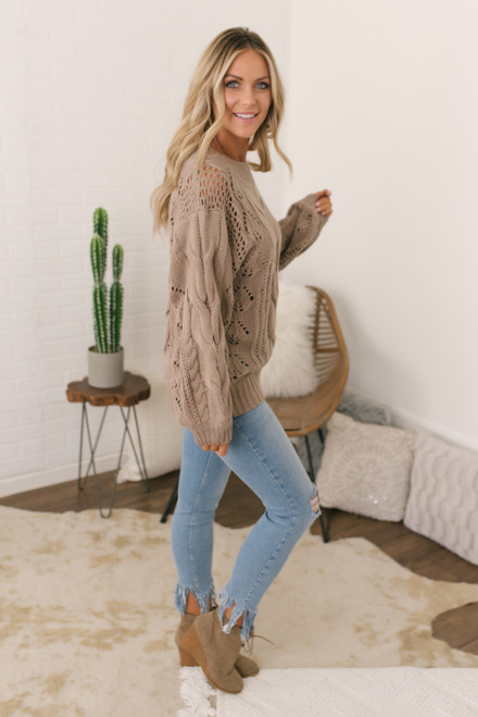 Puff Sleeve Cable Knit Sweater - Mocha - FINAL SALE
