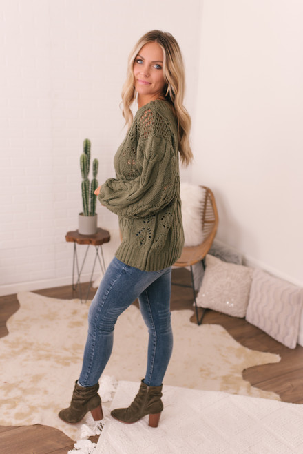 Puff Sleeve Cable Knit Sweater - Olive