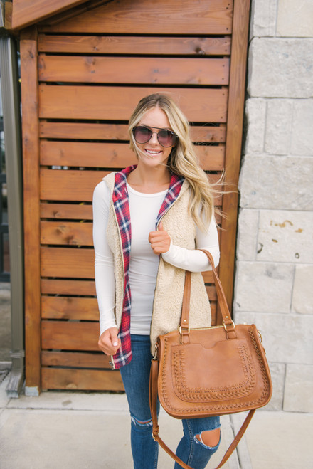 Reversible Plaid Sherpa Vest - Red Multi  - FINAL SALE