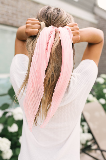 Pleated 3-Way Hair Tie Scrunchie - Pink