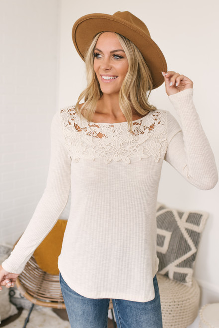 Crochet Detail Ribbed Knit Top - Oatmeal