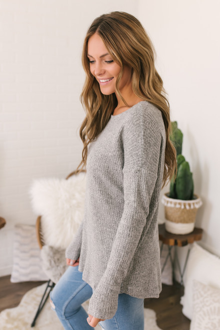 Brushed Waffle Knit Top - Heather Grey