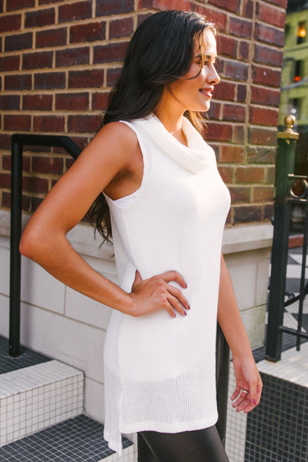 Cowl Neck Ribbed Sweater Tunic - White - FINAL SALE