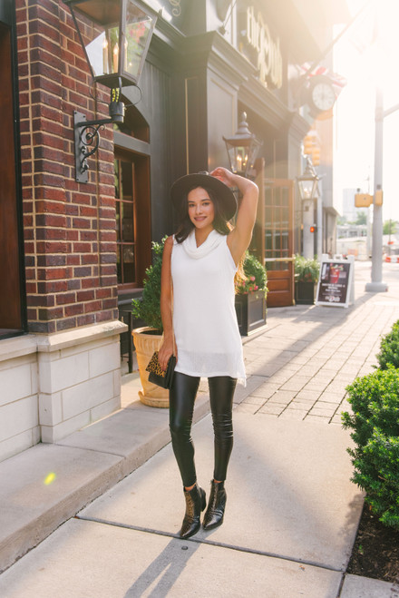 Cowl Neck Ribbed Sweater Tunic - White