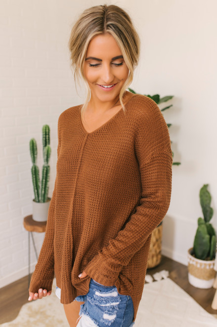 V-Neck Seam Detail Waffle Sweater - Copper - FINAL SALE