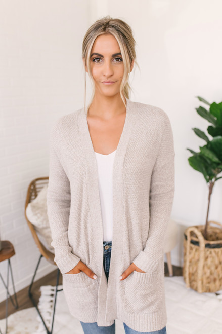 Ultimate Catch Waffle Knit Pocket Cardigan - Oatmeal (ETA MID SEPTEMBER)