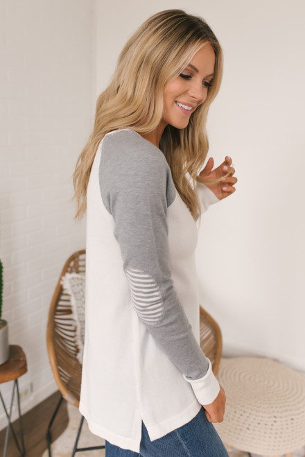 Contrast Stripe Elbow Patch Raglan Pullover - Ivory/Grey - FINAL SALE