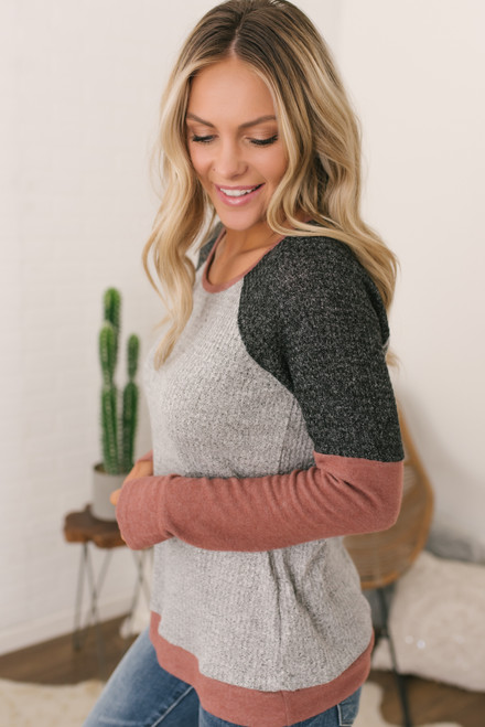 Contrast Waffle Knit Top - Grey/Charcoal/Mauve