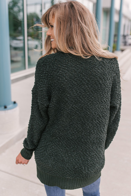 Ribbed Detail Wubby Pocket Cardigan - Forest Green