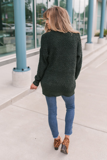 Ribbed Detail Wubby Pocket Cardigan - Forest Green - FINAL SALE