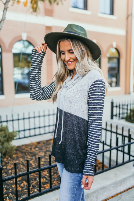 Soft Brushed Striped Colorblock Pullover - Grey/Black/White