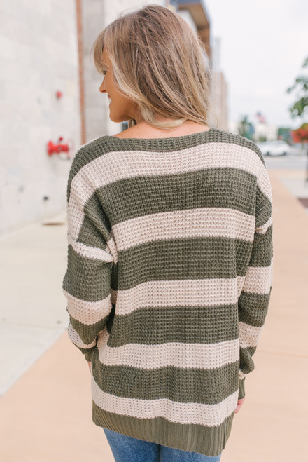 V-Neck Striped Waffle Sweater - Olive/Taupe