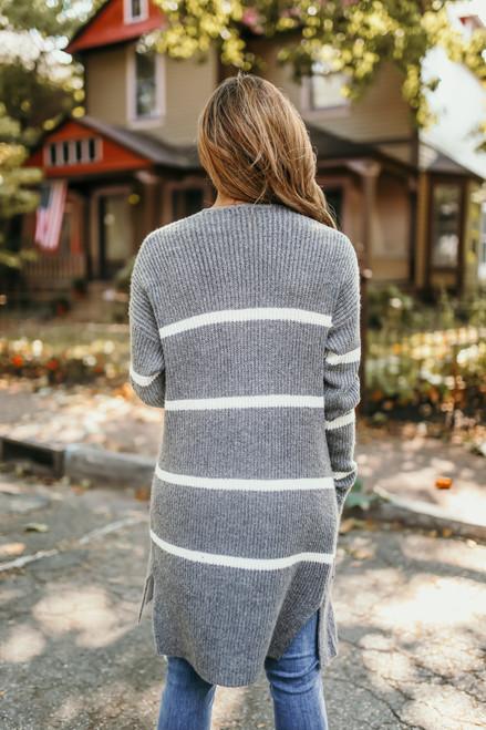 Striped Pocket Cardigan - Charcoal/Ivory - FINAL SALE