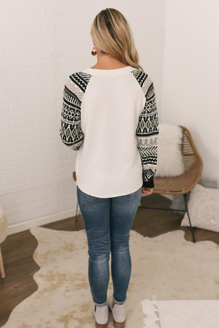 Fair Isle Contrast Raglan Pullover - Ivory/Black  - FINAL SALE
