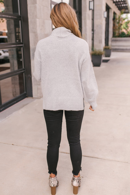 Puff Sleeve Turtleneck Sweater - Heather Grey