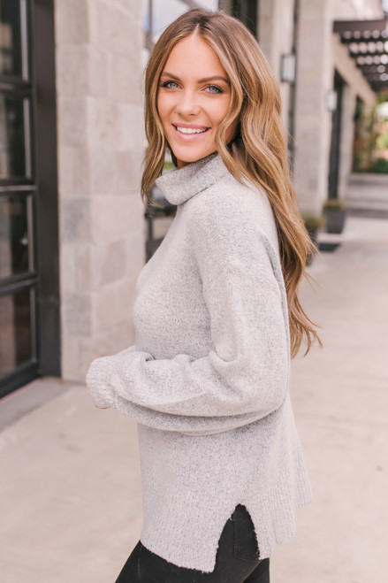 Puff Sleeve Turtleneck Sweater - Heather Grey -  FINAL SALE