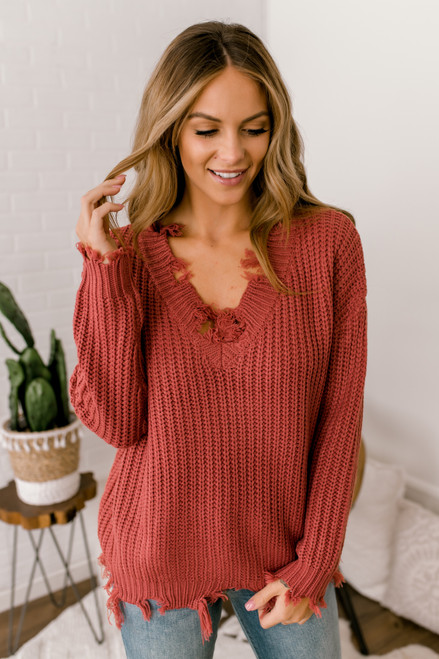 V-Neck Distressed Sweater - Cranberry