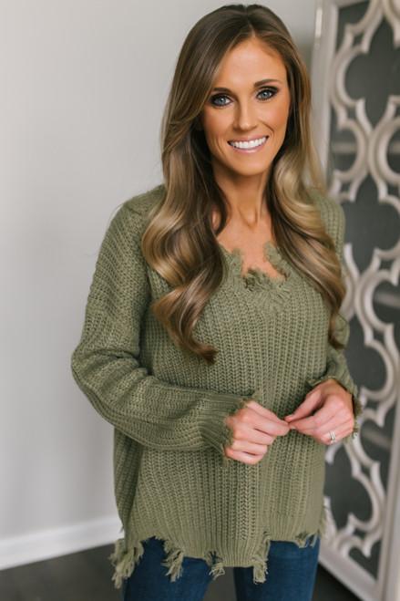 V-Neck Distressed Sweater - Olive