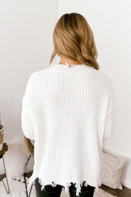 V-Neck Distressed Sweater - Ivory