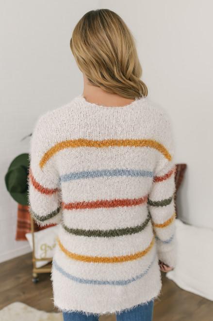 V-Neck Striped Fuzzy Sweater - Ivory Multi