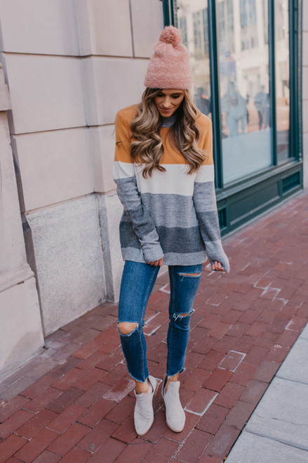 High Neck Colorblock Sweater - Marigold/Grey/White - FINAL SALE