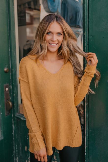 V-Neck Seam Detail Sweater - Mustard - FINAL SALE