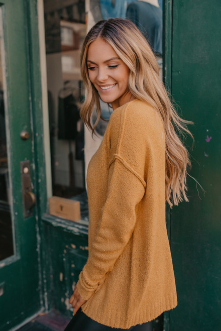 V-Neck Seam Detail Sweater - Mustard