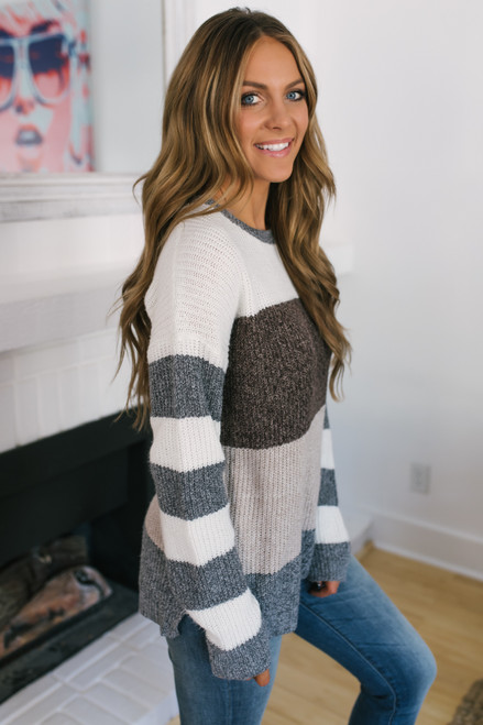 Shenandoah Colorblock Sweater - Ivory/Brown/Taupe/Grey - FINAL SALE