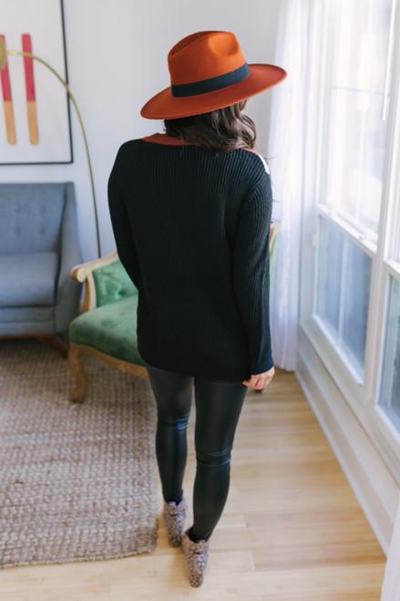 Chevron Colorblock Sweater - Copper/White/Black