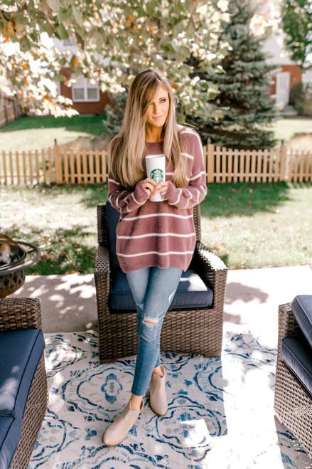 Striped Fuzzy Sweater - Lavender/White